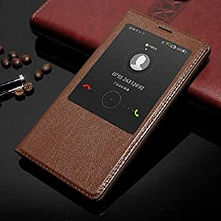 Leather Case Compatible with Huawei Mate 8,Genuine Leather Ultra Thin Flip Window View Stand Feature Case Cover Phone case (Color : Brown)