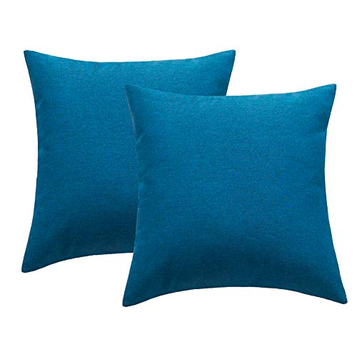 4TH Emotion Outdoor Waterproof Throw Pillow Covers Garden Cushion Case for Patio Couch Sofa Polyester Cotton Home Decoration Pack of 2, 18 X 18 Inches Dark Blue