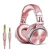 OneOdio Cuffie Over Ear, Cuffie per basso cablate Driver da 50 mm, Cuffie leggere pieghevoli Shareport Mic Registrazione Monitoraggio Podcast PC TV (Oro rosa)