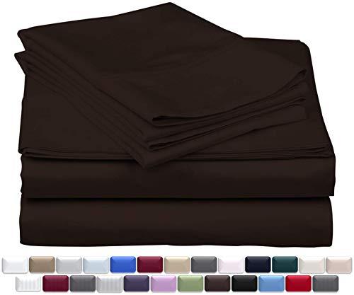 True Luxury 1000-Thread-Count 100% Egyptian Cotton Bed Sheets, 4-Pc Queen Dark Brown Sheet Set, Single Ply Long-Staple Yarns, Sateen Weave, Fits Mattress Upto 18'' Deep Pocket