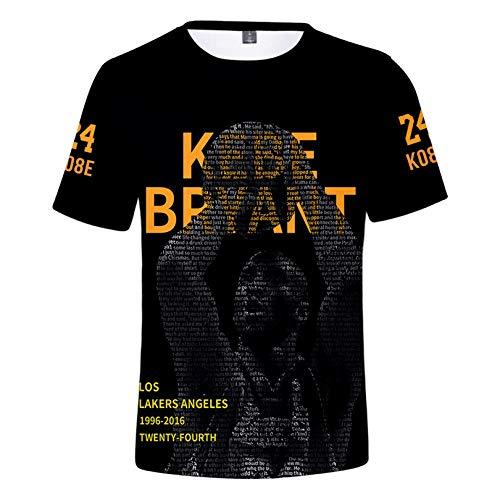 JHJU Camiseta Lakers No. 24 para hombre y mujer de manga corta, sudadera casual de moda, camisetas de cuerpo oscilante M B