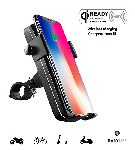Easy-Life Soporte para teléfono Que Integra una batería Externa para Bicicleta, Motocicleta, Scooter, ATV, Carrera, tándem, bicross, Manillar. Banco de Potencia de inducción de 5000mAh y Cable.