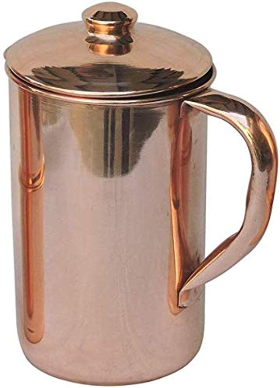 HealthAndWealth Pure Copper Water Jug Copper Pitcher With Lid Copper Pitcher Hold 1 5 Liter For Ayurvedic Health Benefit