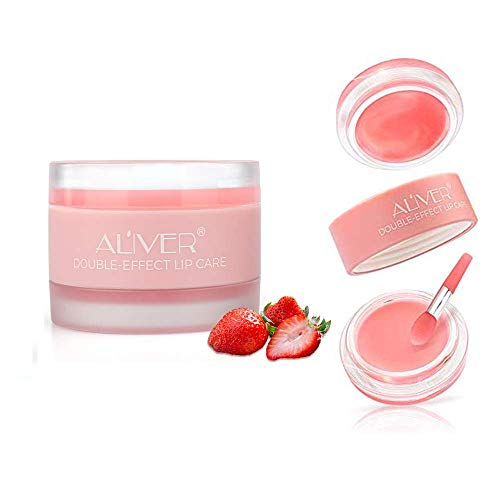 Aliver Nature Lip Scrub, 2 in 1 Exfoliating & Moisturizing Lip Sleeping Mask, Younger Looking Lips Overnight,Long Lasting Lip Moisturizer and Conditioner Lip Balm for Dry & Cracked Lips (Strawberry)