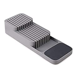 Safe, organised storage for up to 9 knives Space-efficient 2-tier design. Top tier for small knives, lower tier for large knives Suitable for knife blades up to 9 inches (23 cm) Non-slip feet Suitable for drawers with a minimum height of 7.5 cm (3 in...