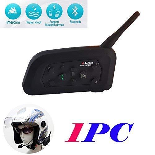 V6 Cuffie Interfono Bluetooth Impermeabile Intercom Stereo Microfono per Casco, Compatipile con Cellulare, Comunicazione da 1200m tra 6 Motociclisti