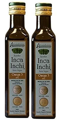 Aceite de SACHA INCHI, BIO, 93% omega 3-6-9 vegetal. Pack de 2 Botellas de 250 mL