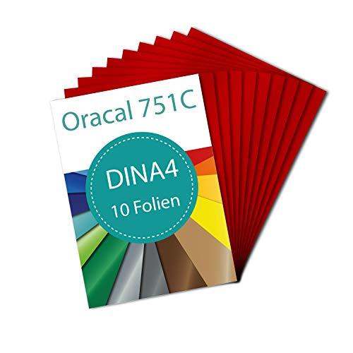 PrintAttack P083 | Plotter Folien 10 x DINA4 Oracal 751 C High Performance Perfekt zum Plotten | Bastelfolie | Vinyl Folie | Klebefolien | Selbstklebend je 21 cm x 29,7 cm (20,47 €/m²) (Karminrot)