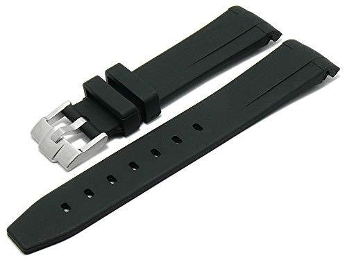 Meyhofer Uhrenarmband Redding 20mm schwarz Rubber glatt matt passend für Rolex Rundanstoß MyCskkb7013