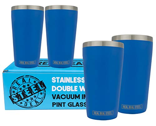 Stainless Steel Pint Glasses: Double Wall Vacuum Copper Insulated Metal Cups to Keep Drinks Cold or Hot - Rimless, Sweat Free Beer Tumbler for Cocktails, Coffee, Set of 4, 16 oz (Blue)