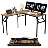 L-Shaped Desk Folding L Computer Desk, K Konwbody 48 x 47 Inches Home Office Desk Writing Gaming L Desk, Small Corner Desk, Rustic Brown