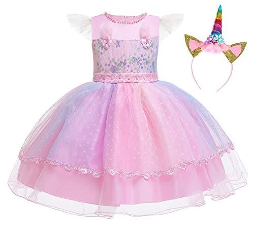 WonderBabe Costume de princesse licorne pour fille - Robe de soirée - Robe de soirée - Costume de princesse pour concours de beauté, Halloween, fête d'anniversaire, Rose-815, 1-2 ans