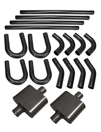 """BLACKHORSE-RACING 2.5"""" Exhaust Mandrel Bend Kit Steel Tubing 45 90 180 Straight Header-Back Piping with Pair of Single Chamber Performance Race Muffler"""