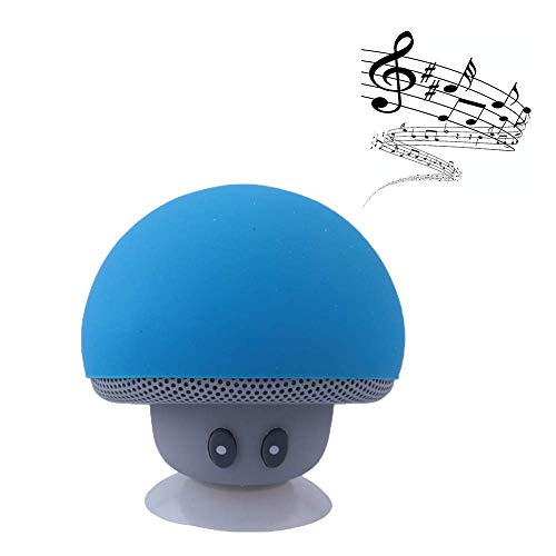 Hipipooo Cute Speaker Mushroom-Shaped, Bluetooth Mini Speaker with Built-in Mic and Suction Cup for Kitchen/Bedrooms/Car/Desk/Shelf/Party/Travel/Outdoor Android/iOS Speaker(Blue)