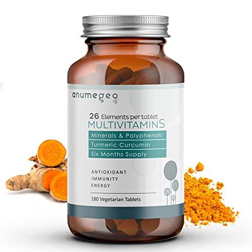 Anumegeo Multivitaminas y Minerales–26 Vitaminas y Minerales Esenciales con Curcumina y Polyphenoles antioxidantes –180 Tabletas Vegetarianas, suministro para 6 meses
