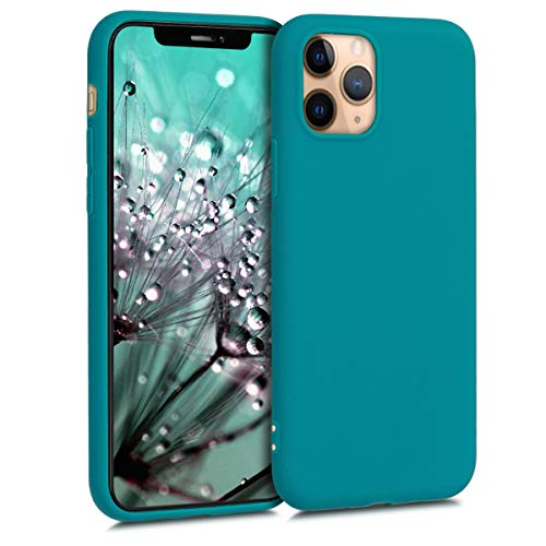 kwmobile TPU Silicone Case Compatible with Apple iPhone 11 Pro - Soft Flexible Protective Phone Cover - Teal Matte