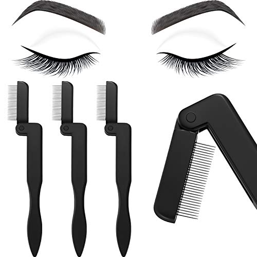 4 Pieces Eyelash Comb Foldable Eyelash Comb Curlers Stainless Steel Teeth Eyebrow Comb (Black)