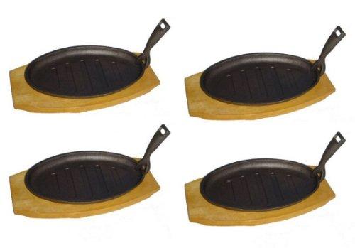 TAMLED SET Servierpfanne oval Gusseisen mit Holzuntersetzer - 4 Stück