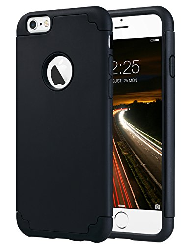ULAK Slim Fit Case for iPhone 6S Plus/iPhone 6 Plus Dual Layer Soft Silicone Hard Back Cover Bumper Protective Shock-Absorption Anti-Scratch Case for Apple iPhone 6/6S Plus 5.5 inch, Black