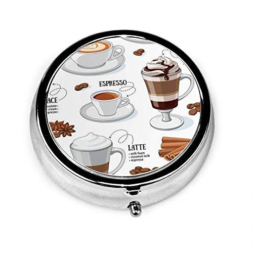 Portapillole tondo con 3 scomparti Cafe Diversi tipi di caffè Caffeina Dessert Moka Americano