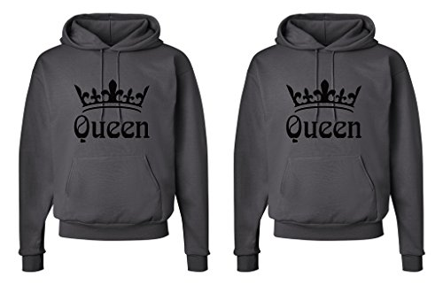 FASCIINO LGBT Matching Gay Pride Hers & Hers Lesbian Couple Hooded Sweatshirt Set - Queen and Queen Crowns (Queen Shirt #1: Medium/Queen Shirt #2: Medium Orange)