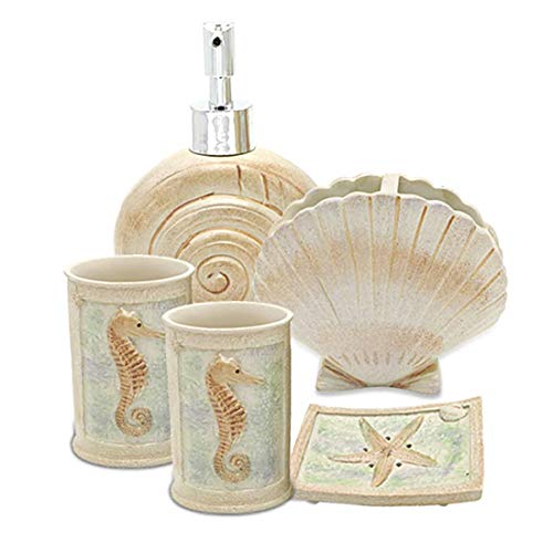 HotSan bathroom accessory Set, 5 PCS Beach Seashells Ensemble Set Includs Soap Dispenser, Soap Dish, Tumble, Toothbrush Holder - Ivory Polyresin Set for Man, Woman, Kids