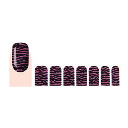 GLAM UP - Stickers Vernis Adh�sifs ongles - Z�bras Noir Rose Paillett�s