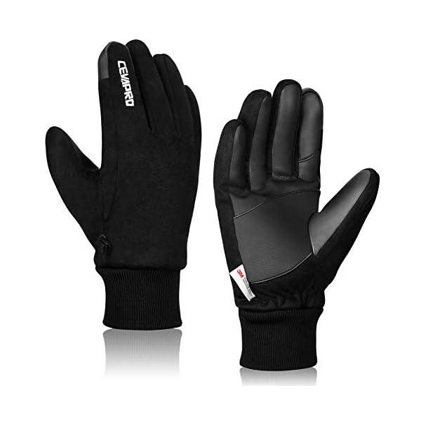 Cevapro Winter Gloves Suede Warm Gloves Waterproof Thermal Gloves for Men Women