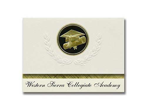 Signature Announcements Western Sierra Collegiate Academy (Rocklin, CA) Graduation Announctions, Presidential Style, Elite Paket mit 25 Cap & Diplom Siegel Schwarz & Gold