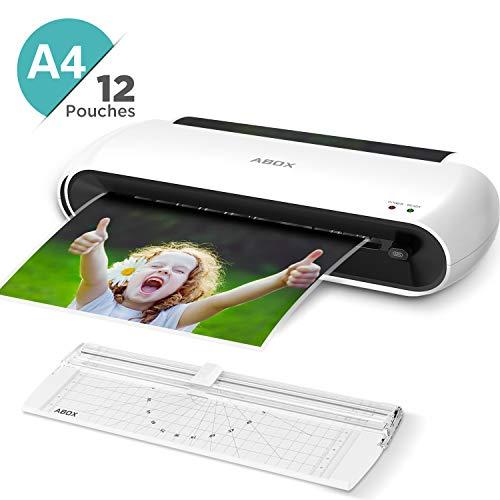 ABOX Laminiergerät A4 A5 A7 mit Papierschneider und 12 Laminierfolien, 300 mm/min und ABS Funktion OL145 Laminierset für Schule, Büro und Zuhause, Weiß