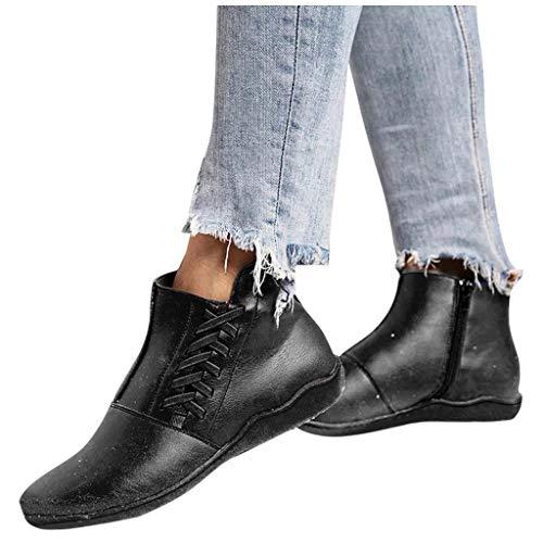 DNOQN Damen Schlupfstiefel Schnür Stiefel Winterstiefel Damen Mode Freizeit Größe Flache Absätze Schnürstiefel Schuhe