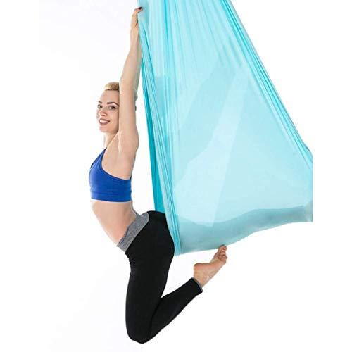 Hamaca de Yoga aérea, 2.8x1m / 9.2x3.3ft Durable Elástico Aéreo de Yoga Hamaca Swing Fitness Accesorio de Entrenamiento (Color : Blue)