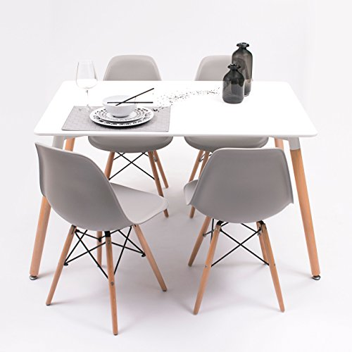 Conjunto de Comedor Tower con Mesa lacada Blanca y 4 sillas, de diseño nórdico (120x80, Gris Medio)