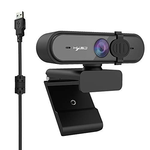 Ajcoflt 1080P USB Webcam Auto Focus Web Camera with Privacy Cover Built-in Noise Reduction Microphone for Laptop Desktop Black