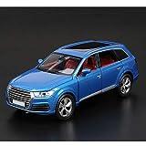 Maßstab 1:32 Druckguss-Auto-Modell/Kompatibel mit Audi Q7 / Auto-Modell mit Ton und Licht Funktion SUV Auto-Modell (Color : Blue, Size : 15CM*6CM*5.5CM)