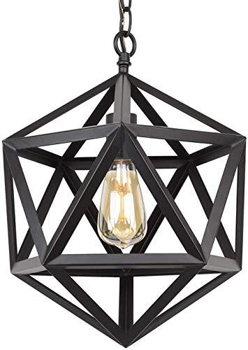 16 'smeedijzeren Modern Industrial geometrische metalen kroonluchter ketting niet verstelbaar zwarte afwerking