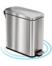 アイタッチレス(iTouchless) ペダル式ゴミ箱 シルバー 11L ソフトステップ ステンレス製 臭気吸収フィルター スリム 取り外し可能なインナーバケット 家庭、オフィス用 PS03RSS