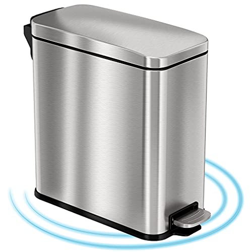 Product Image of the iTouchless SoftStep 3 Gallon Small Slim Bathroom Trash Can with AbsorbX Odor Filter & Removable Inner Bucket, Stainless Steel, Step Pedal Garbage Bin for Restroom, Bedroom, and Business Office Cubicle