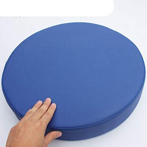 Cojín redondo de cuero sintético para sofá o silla, asiento de espuma, cojines para silla de oficina, vehículos de hogar, impermeable, azul real, diámetro 40 cm x 5 cm