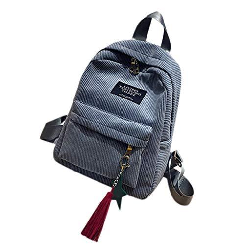 Mini Simple Corduroy Backpacks for School Campus Style Leisure Bookbag (Gray)