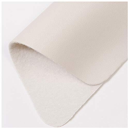 NAKAN Tela de Polipiel de PU Tela de Vinilo de Cuero Artificial de 138cm de Ancho Tela De Tapicería Impermeable para La Reparación de Muebles, Artesanías de Bricolaje(Color:Blanco Crema)