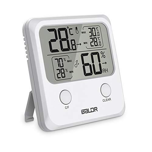 Thermometer Hygrometer Innen/Außen Digitales Hydrometer Feuchtigkeit mit Hohen Genauigkeit, Tragbares Temperatur und Luftfeuchtigkeitmessgerät für Babyraum, Wohnzimmer, Raum, Büro Weiß