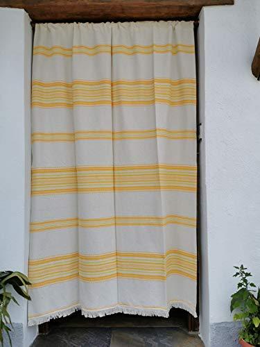 Cortina Alpujarreña Rustica,(160 x 215 cm), Amarillo Anaranjado Color 102 Hecha en España, Fibra Natural de algodón - Cortina para Puerta Exterior mosquitera y Parasol