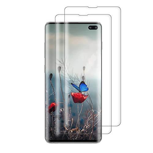 XSWO 2 Unidades Cristal Templado para Galaxy S10 Plus, Protector de Pantalla para Samsung Galaxy S10 Plus, [3D Cobertura Completa] [9H Dureza] [Sin Burbujas] [Fácil Instalar] Vidrio Templado