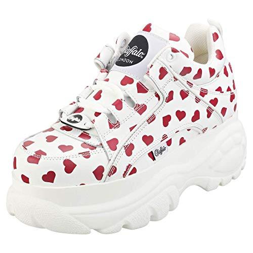 Buffalo London 1339-14 Damen Weiß/Rot Hearts Sneakers-UK 6.5 / EU 40