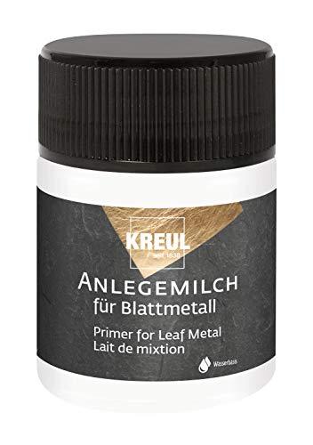 Kreul 99450 - Anlegemilch im 50 ml Glas, Spezialkleber auf Wasserbasis zum Anlegen von Blattmetallen, trocknet transparent und glänzend auf
