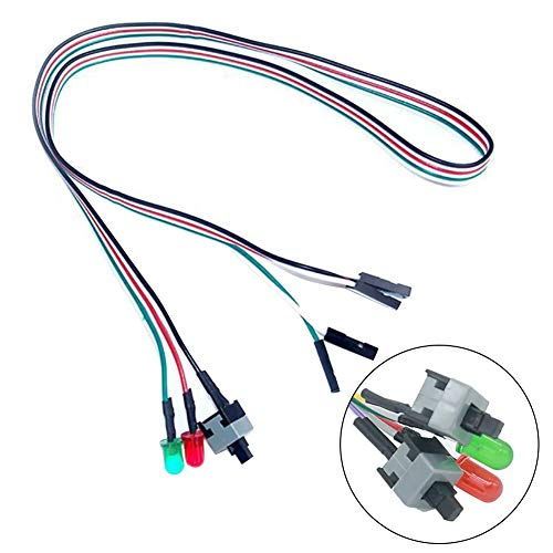 ZNLIgHT Cable & HUB & Adapter | 50cm On/Off/Reset 2 Switch LED Light ATX PC Computer moederbord Power Cable | Digitaal product