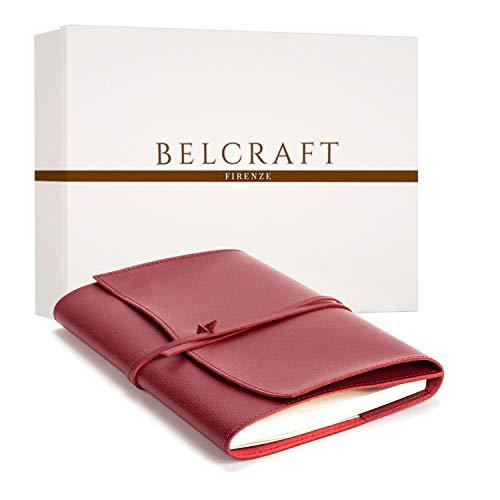 Portofino A5 mittelgroßes Nachfüllbar Notizbuch aus Leder, Handgearbeitet in klassischem Italienischem Stil, Geschenkschachtel inklusive, Tagebuch, Lederbuch A5 (15x21 cm) Rot