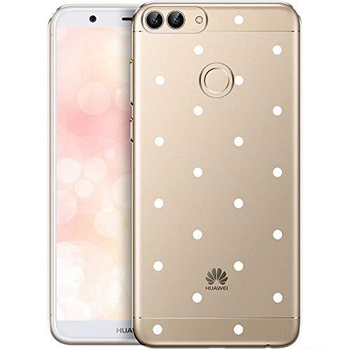 OOH!COLOR Custodia Compatibile con Huawei P Smart 2017/Huawei Enjoy 7S Cover Trasparente con Disegni Silicone Morbida Chiaro Cristallo Anti-Scratch Bumper Case per Punti Bianchi (Imballaggio)