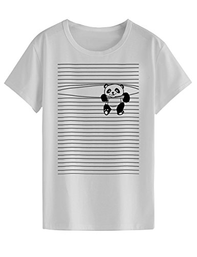 "Neo Garments Women's Cotton T Shirt - Pandaa (White, 2XL(Chest:40"",Length:27.5"",Shoulder:17""))"